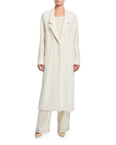 Wool-Boucle Drop-Collar Coat