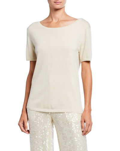 Merino-Silk Boat-Neck Tee, Cream
