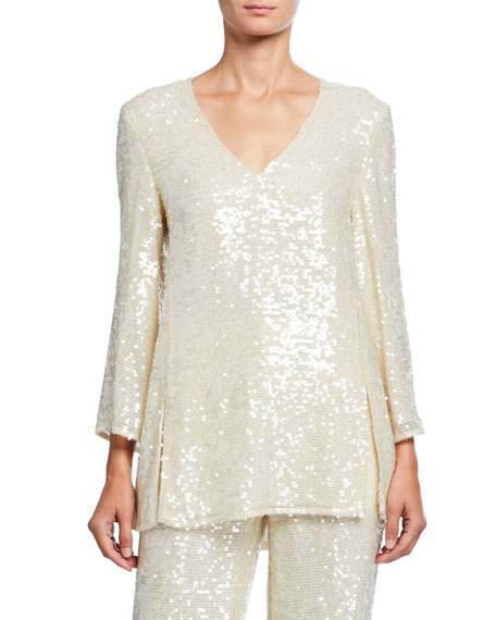 LAPOINTE Sequined Jersey Tunic