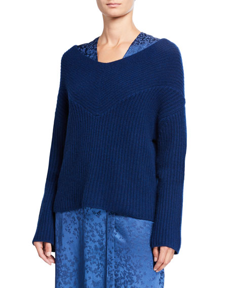 LAPOINTE Cashmere Wide-Neck Sweater