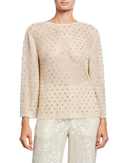 LAPOINTE Diamond-Crocheted Top