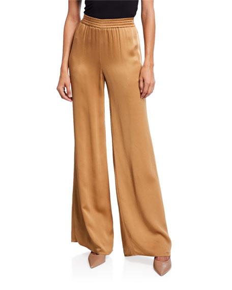 LAPOINTE Satin Wide-Leg Track Pants, Camel