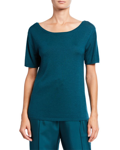 Merino-Silk Boat-Neck Tee, Emerald