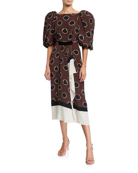 Johanna Ortiz Unexpected Territory Puff-Sleeve Midi Dress