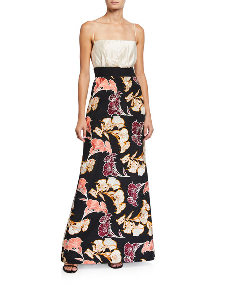 Johanna Ortiz Earthbound Floral Crepe de Chine Square-Neck Maxi Dress