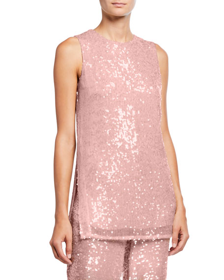 LAPOINTE Sequined Jersey Shift Tank, Pink