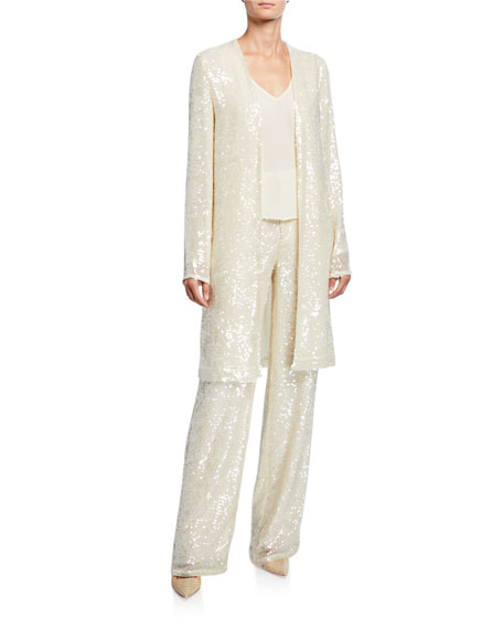 LAPOINTE Sequined Jersey Duster Jacket, Cream