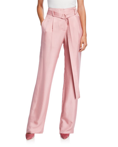 Silky Twill High-Rise Pants, Pink