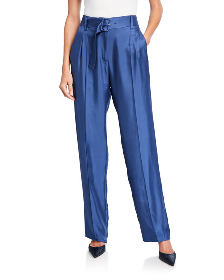 LAPOINTE Silky Twill Pintucked Pants