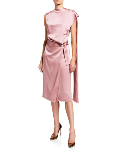 Satin Scarf-Neck Dress, Pink