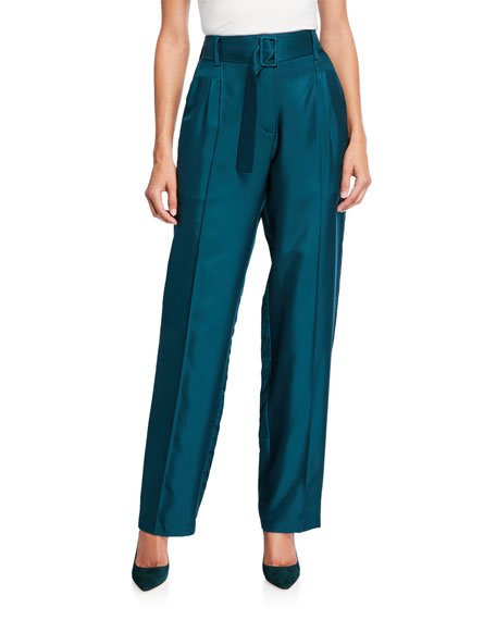 LAPOINTE Silky Twill High-Rise Belted Pants, Emerald