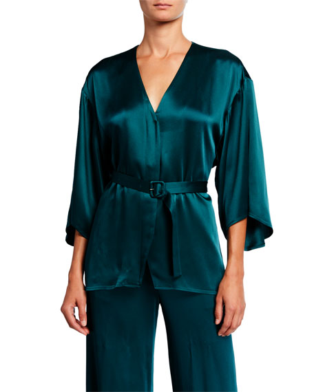 LAPOINTE Satin Belted Kimono Top, Emerald