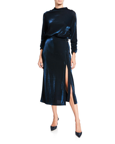 Metallic Jersey Mock-Neck Dress