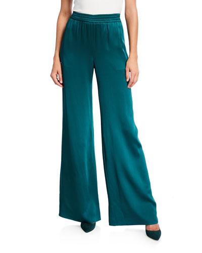 Satin Wide-Leg Track Pants, Emerald