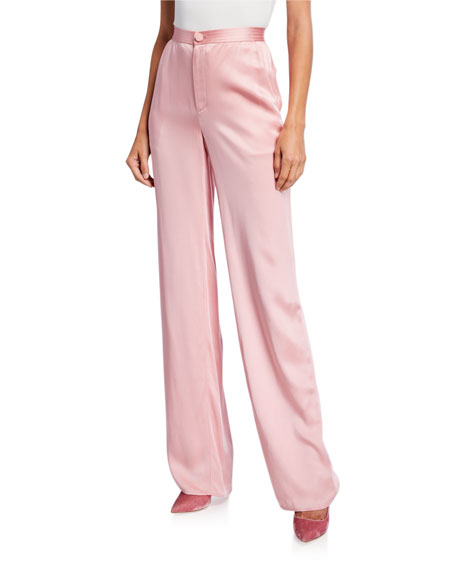 LAPOINTE Satin High-Rise Trousers