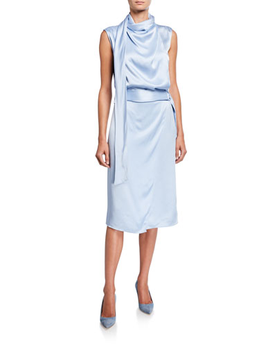 Satin Scarf-Neck Dress, Blue