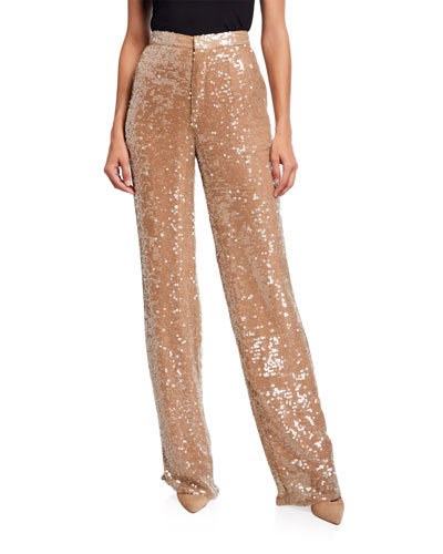 Sequined Jersey High-Rise Trousers, Cream