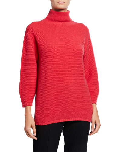 Wool-Cashmere Mock-Neck Pique Sweater
