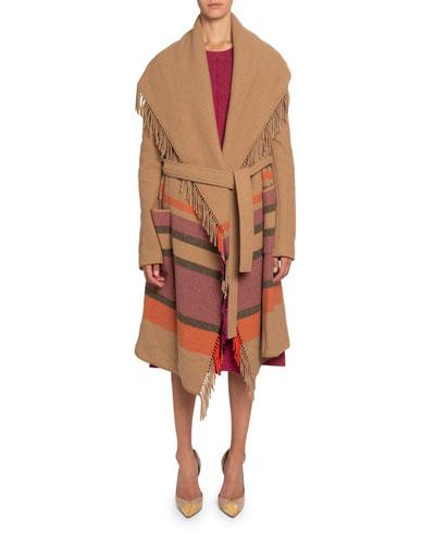 Striped Fringed-Wool Shawl