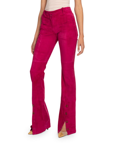 Suede High-Rise Flare-Leg Pants