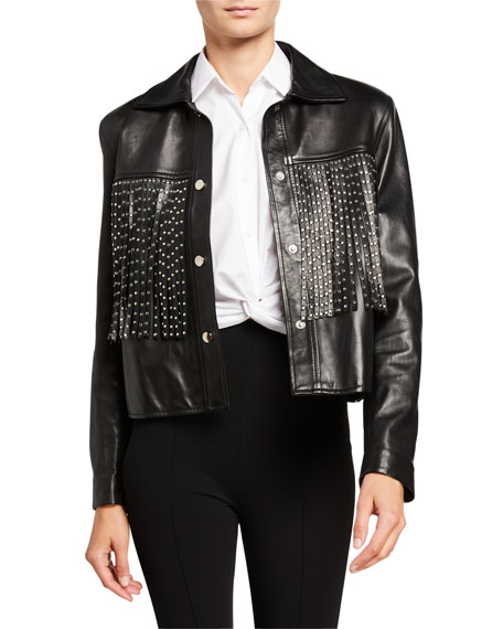 Nour Hammour Leather Moto Jacket with Studded Fringe