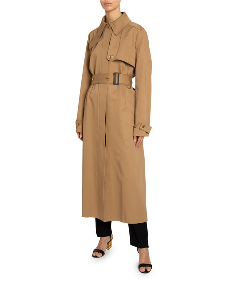 Givenchy Back-Striped Cotton Gabardine Trench Coat