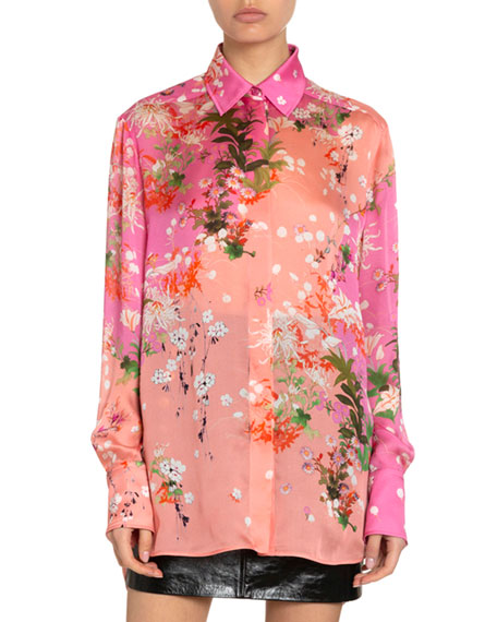 Givenchy Floral Print Two-Tone Silk Blouse