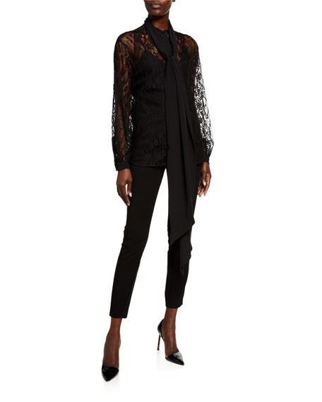 Givenchy Lace Scarf-Neck Blouse