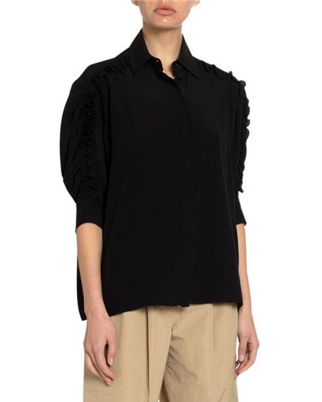 Givenchy Silk Frilled Puff-Sleeve Shirt