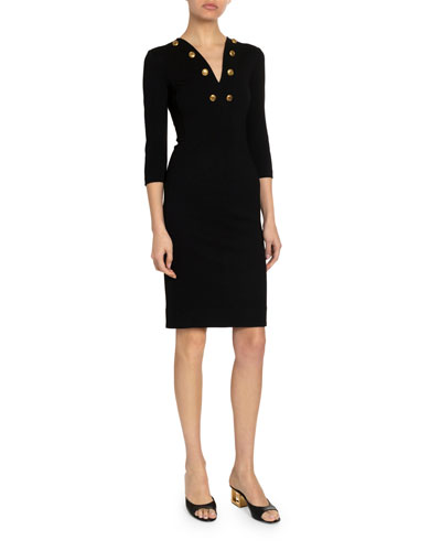 Golden-Button Jersey Fitted Midi Dress