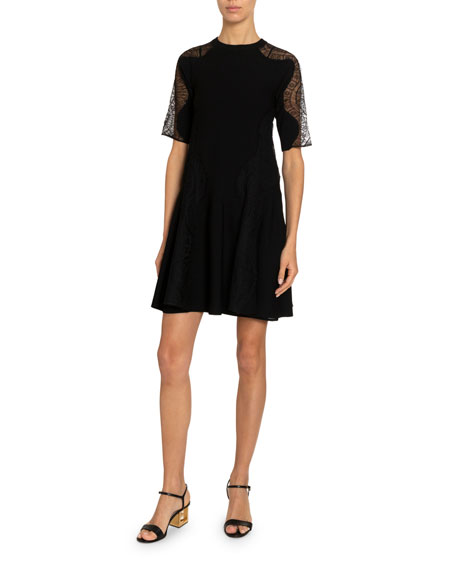 Givenchy Wavy Lace-Inset Flared Crepe Dress