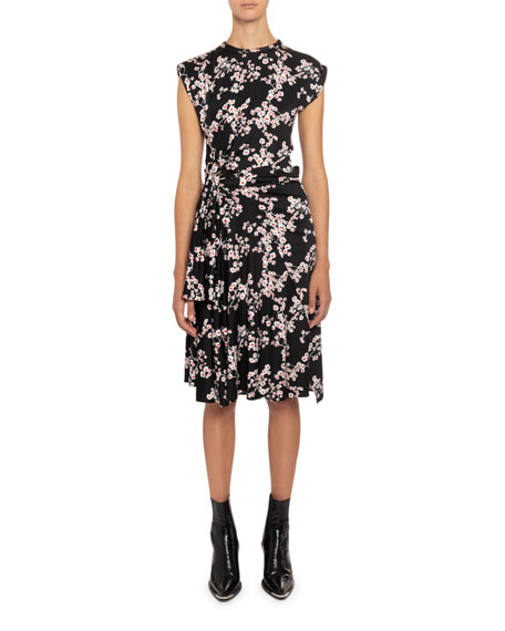 Paco Rabanne Floral Tie-Waist Cap-Sleeve Dress