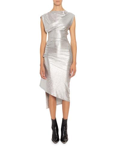 High-Neck Midi Dress