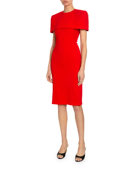 Givenchy Crepe Wool Dress with Removable Capelet