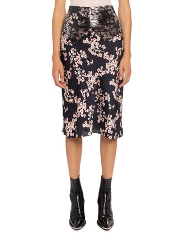 Floral-Print Chain Mesh Midi Skirt