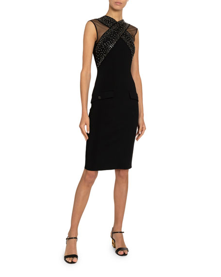 Givenchy Jeweled Cross-Front Fitted Dress