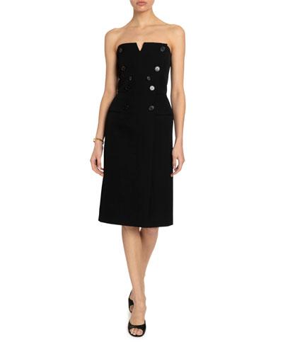 Strapless Button-Detail Bustier Midi Dress