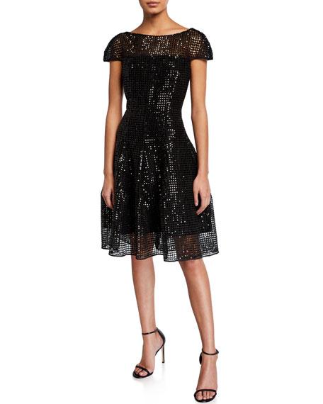Talbot Runhof Micro-Sequined Cap-Sleeve Cocktail Dress