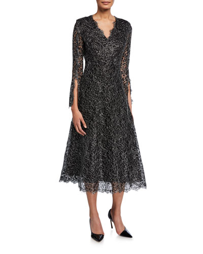 Metallic Floral Lace Midi Dress