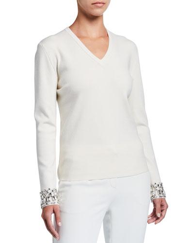 Sindih Rhinestone-Cuff Wool Sweater
