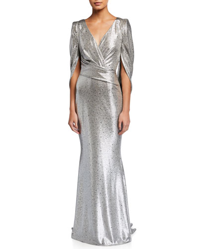 Rosin Mirrorball Gathered Stretch Metallic Gown