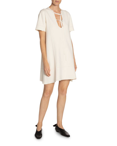 Tab-Front Short-Sleeve T-Shirt Dress
