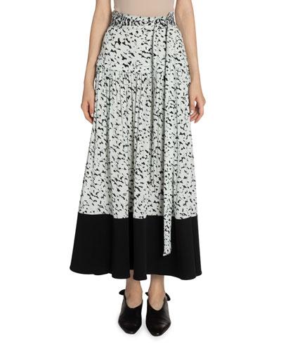 Abstract-Print Midi Skirt