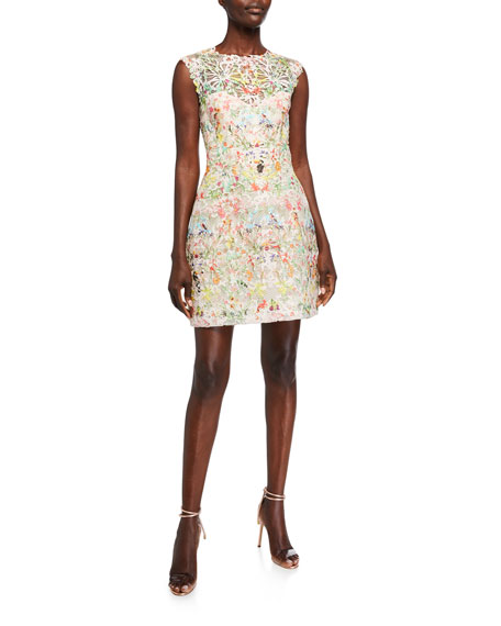 Monique Lhuillier Paradise Print 3/4-Sleeve Dress