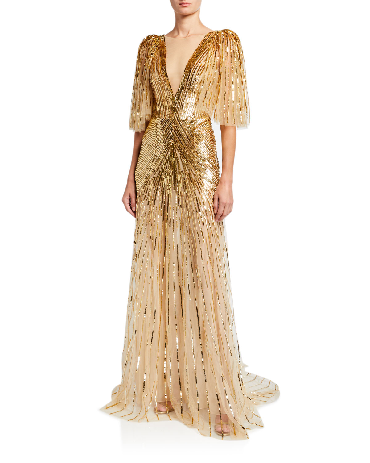 Monique Lhuillier Tops TULLE RUFFLED-SLEEVE V-NECK GOWN