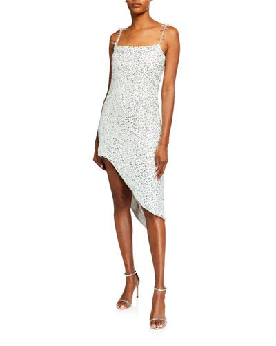 Sequin Asymmetric Sheath Dress