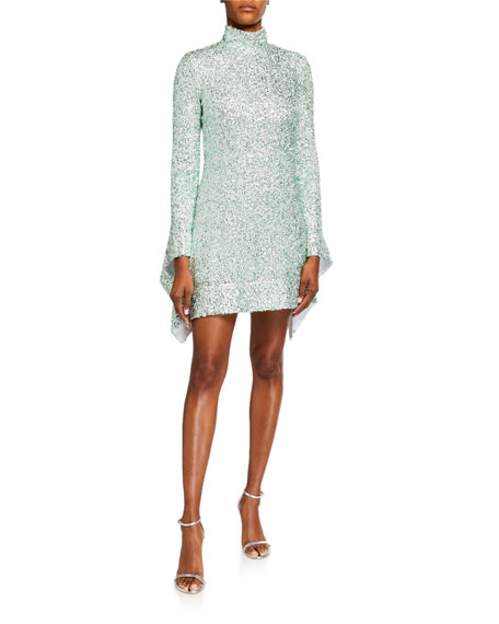 Halpern Sequined Mock-Neck Mini Dress