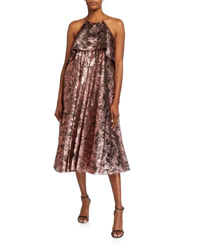 Metallic Burnout Halter Midi Dress