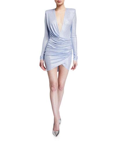 Metallic Jersey Deep-V Bodycon Dress