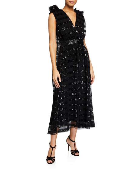 Halpern Gathered Midi Dress